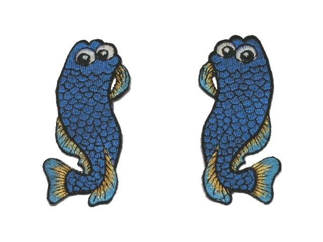 1 Paar Applikationen Fische AA457-12 Farbe: Blau