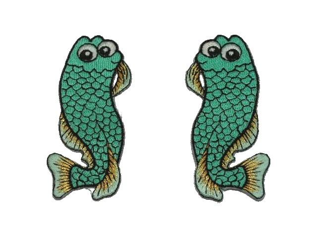 1 Paar Applikationen Fische AA457-15 Farbe: Türkis