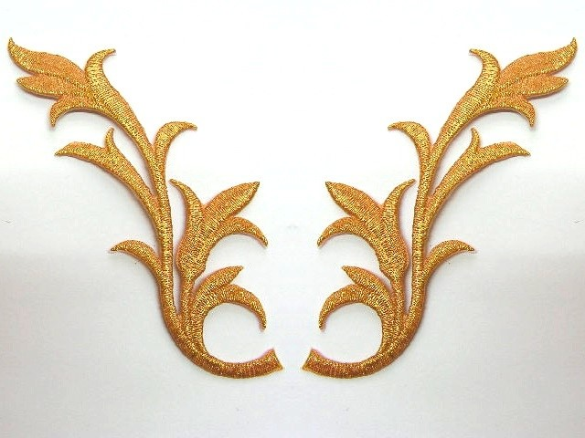 1 Paar historische Applikationen Farbe: Gold