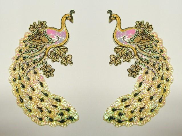 1 Paar Applikationen Vogel Pfau 5,5x11cm Farbe: Beige-Rosa