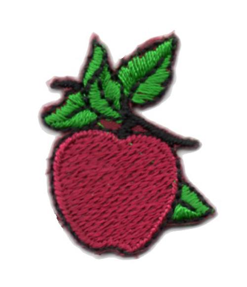 Applikation Patch Sticker Apfel Farbe: Dunkelrot 2,5 x 3,5cm