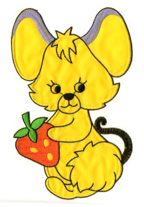 Applikation Maus 20,5 x 13cm Farbe: Gelb-Lila-Orange