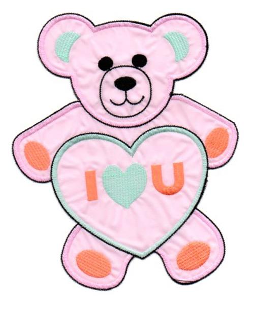 Applikation Teddy / Bär 16 x 20cm Farbe: Rosa-Mint-Orange