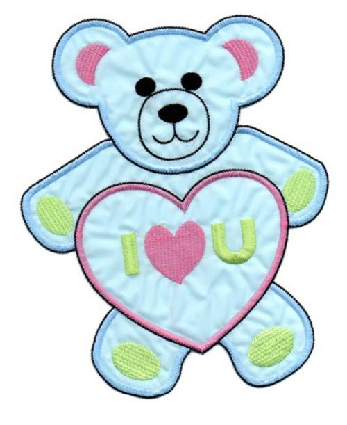Applikation Teddy / Bär 16 x 20cm Farbe: Blau-Pink-Grün