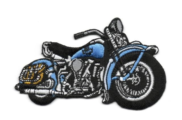 Applikation Patch Biker Motorrad Cars 9,5 x 6cm Farbe: Hellblau