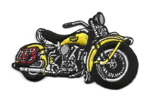 Applikation Patch Biker Motorrad Cars 9,5 x 6cm Farbe: Gelb