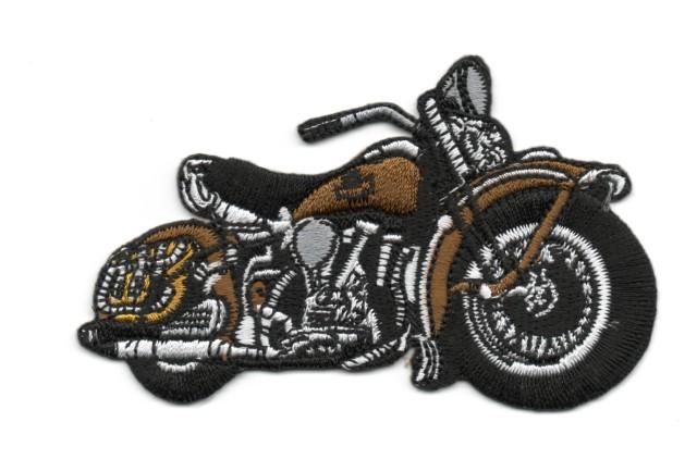 Applikation Patch Biker Motorrad Cars 9,5 x 6cm Farbe: Braun