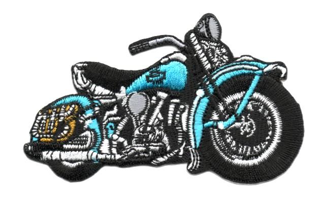 Applikation Patch Biker Motorrad Cars 9,5 x 6cm Farbe: Türkis