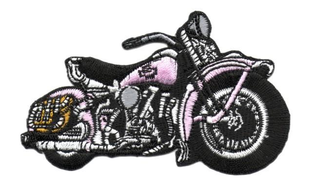 Applikation Patch Biker Motorrad Cars 9,5 x 6cm Farbe: Pink