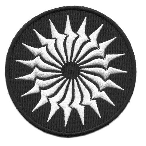 Applikation Patch keltisches Rad Ø 8cm Farbe: Schwarz-Weiss