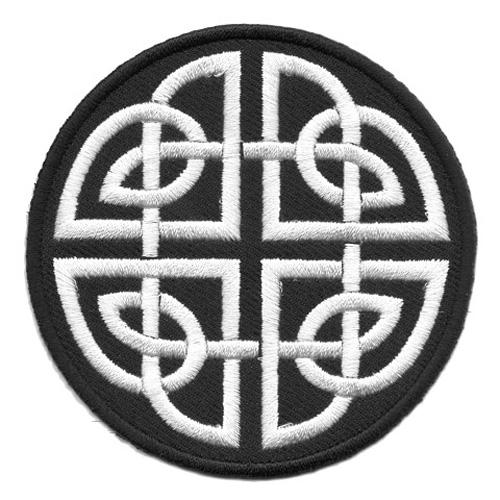 Applikation Patch keltischer Knoten Ø 8cm Farbe: Schwarz-Weiss