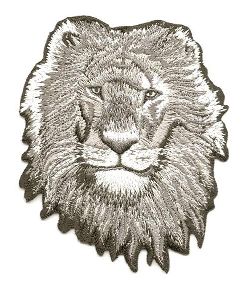 Applikation Sticker Patch Löwe 8,5 x 10cm Farbe: Grau