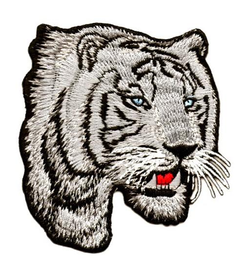 Applikation Sticker Patch Tiger 8 x 9cm Farbe: Dunkelgrau