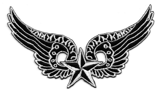 Applikation Biker Patch Flügel mit Stern weiss 12x6cm