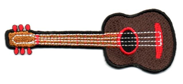 Applikation Patch Gitarre 9,5 x 4,5cm Farbe: Braun