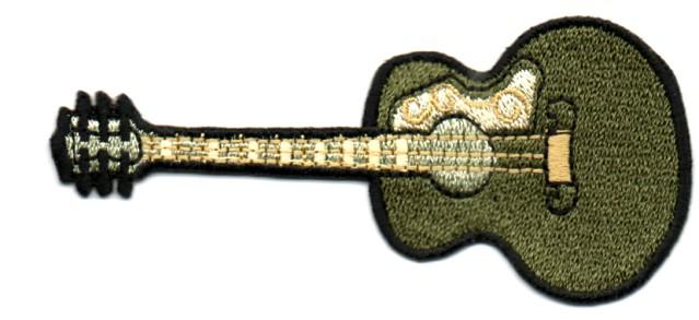 Applikation Patch Gitarre 9,5 x 4,5cm Farbe: Zedergrün