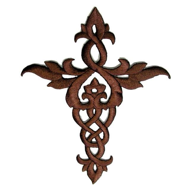 Applikation Patch Tribal Kreuz 12x 14cm Farbe: Dunkelbraun