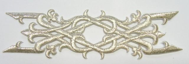 Applikation Patch Tribal 17 x 5cm Farbe: Lurex-Silber