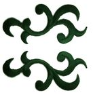 6 Paar historische Applikationen Farbe: Dunkelgrün