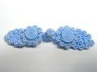 25 Paar Posamentenverschlüsse mit Perlen Farbe: Hellblau