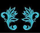 6 Paar historische Applikationen Farbe: Royalblau