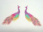 1 Paar Applikationen vom Vogel Pfau 4x12cm AA463-19