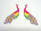1 Paar Applikationen vom Vogel Pfau 4x12cm AA463-21