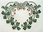 B-Ware!! Bügelbild Strass Herz mit grün 8,5 x 6,3 cm