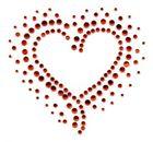 B-Ware!! Bügelbild Strass rotes Herz 9,5 x 9cm