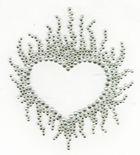 B-Ware!! Bügelbild Flammen- Herz Farbe: Kristall 9,5x11cm