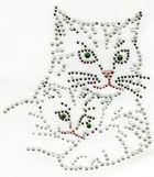 B-Ware!! Applikation Bügelbild Strass Katzenpaar 12,5 x 14 cm