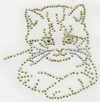 B-Ware!! Bügelbild Strass Bügelmotiv Katze 14 x 14 cm