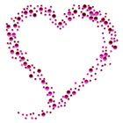 B-Ware!! Bügelbild Bügelmotiv Herz Farbe: Fuchsia 11 x 11cm