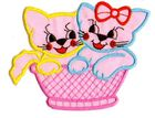 1 Applikation Katzenpaar 9,5 x 11cm Farbe: Rosa AA472-11