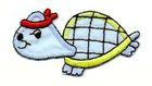 1 Applikation Schildkröte 6,5 x 3cm Farbe: Blau AA469-1