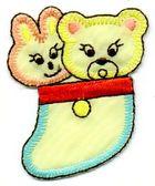1 Applikation Bär + Hase 4,5 x 5,5cm Farbe: Gelb AA469-25