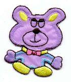 1 Applikation Teddy Bär 4 x 5cm Farbe: Lila AA469-37