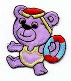 1 Applikation Teddy Bär 4,5 x 5cm Farbe: Lila AA469-43