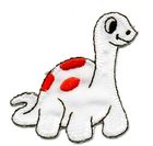 1 Applikation Dino 5 x 5,5cm Farbe: Weiss