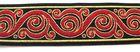 10m Borten Webband 32mm breit Farbe: Schwarz-helles Rot-Gold