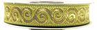 10m Jacquard Borte Webband Stoff 16mm breit Farbe: Hellgrün-Gold