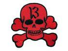 Totenkopf zum Aufbügeln Farbe: Rot 8 x 6,7cm
