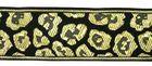 10m Borte Webband Muster Leopard 35mm breit Farbe: Schwarz-Gold
