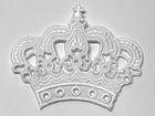 Applikation Krone zum Aufbügeln Farbe: Weiss 11,5 x 9,5cm AA490-3