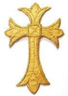 1 Stück Applikationen Tribal Kreuz Farbe: Gold 5 x 7,5cm