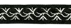 10m Mittelalter Borte Webband 16mm breit Farbe: Schwarz-Silber