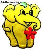 1 Stück Applikation Elefant 3 x 3,6cm Farbe: Gelb AA503-4