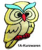 1 Stück Applikation Eule 3 x 4,6cm Farbe: Gelb AA504-4
