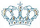 B-Ware!! 1x Bügelbild Krone Farbe: Blau 8,4 x 5,8cm JE1-3-Neu