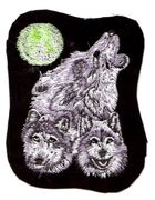 Applikation Patch 3 Wölfe Wolf 9 x 11 cm
